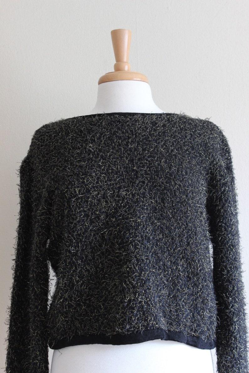 Vintage Black /& Metallic Gold Fuzzy Cropped Sweater