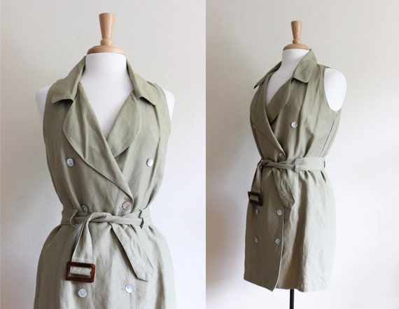 Vintage Olive Green Trench Coat Style Mini Dress