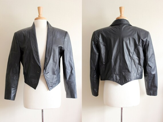 Vintage Shawl Collar Black Leather Cropped Jacket