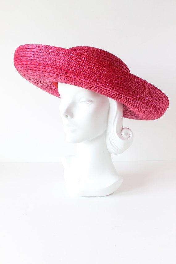 Vintage Hot Pink Wide Brim Straw Hat - image 7
