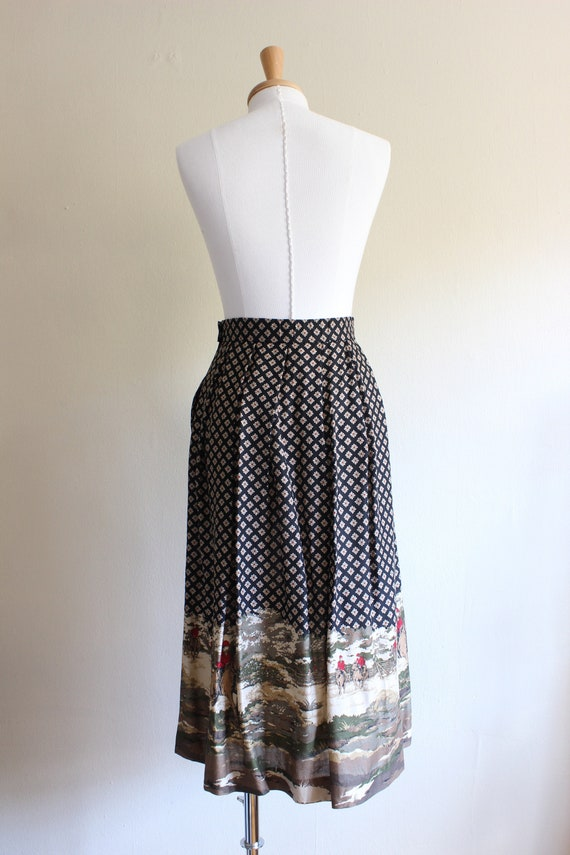Vintage Equestrian Novelty Print Black Midi Skirt - image 9