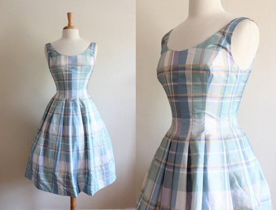 Vintage Pastel Plaid Taffeta Party Dress