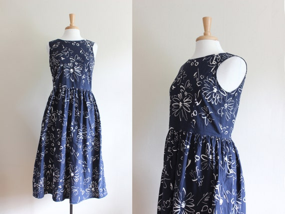 Vintage 1990s Navy & White Floral Cutout Back Midi