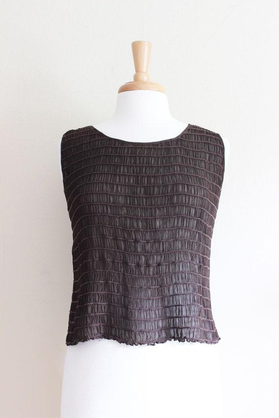 Vintage 1990s Shirred Brown Silk Chiffon Sheer Ta… - image 2