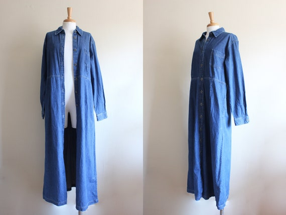 Vintage Eddie Bauer Long Sleeve Denim Shirt Dress
