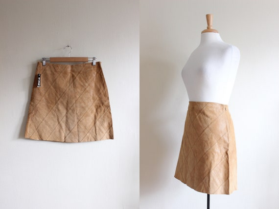 Vintage Light Brown Patchwork Suede Mini Skirt