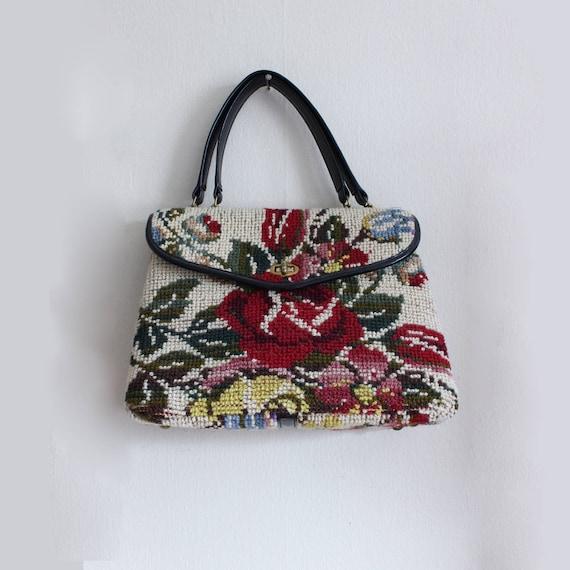 1950s Bag / Vintage Jana Top Handle Floral Carpet