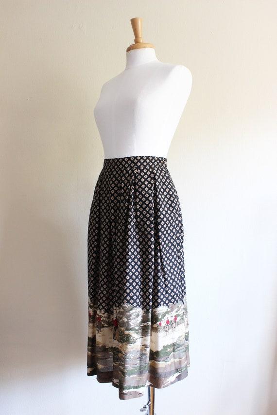 Vintage Equestrian Novelty Print Black Midi Skirt - image 7