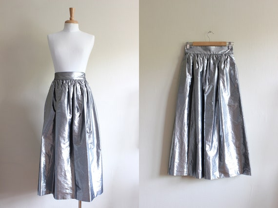 Vintage 1980s Metallic Silver Lamé Midi Skirt