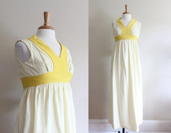 Vintage 1960s Yellow & White Stripe Seersucker Max