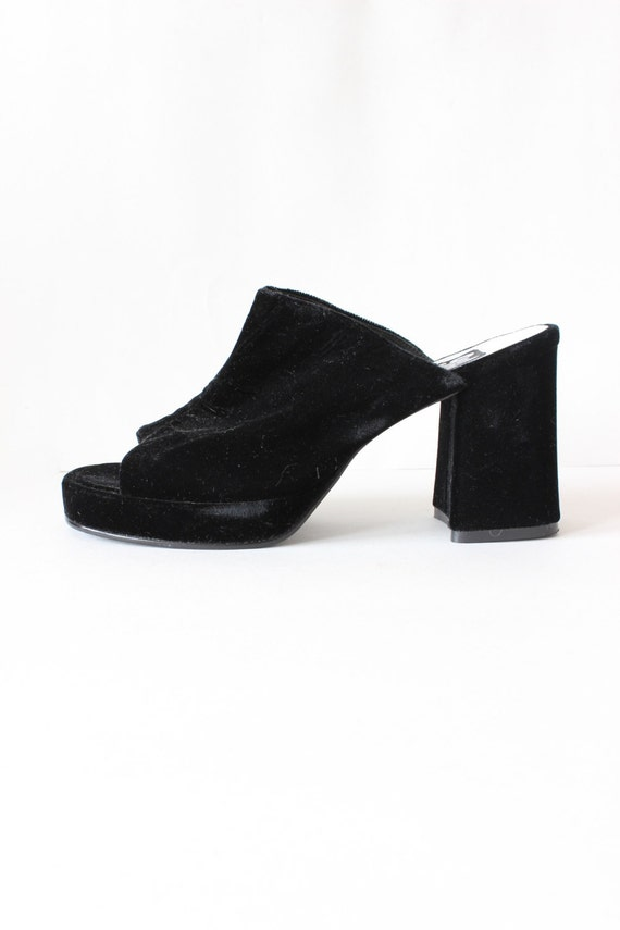 Vintage 1990s Black Velvet Block Heel Slides, size