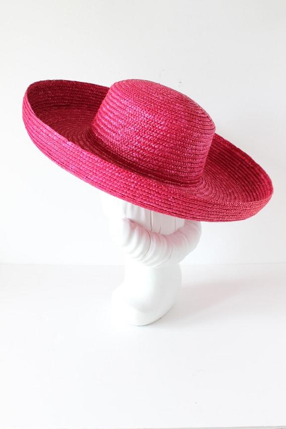 Vintage Hot Pink Wide Brim Straw Hat - image 6