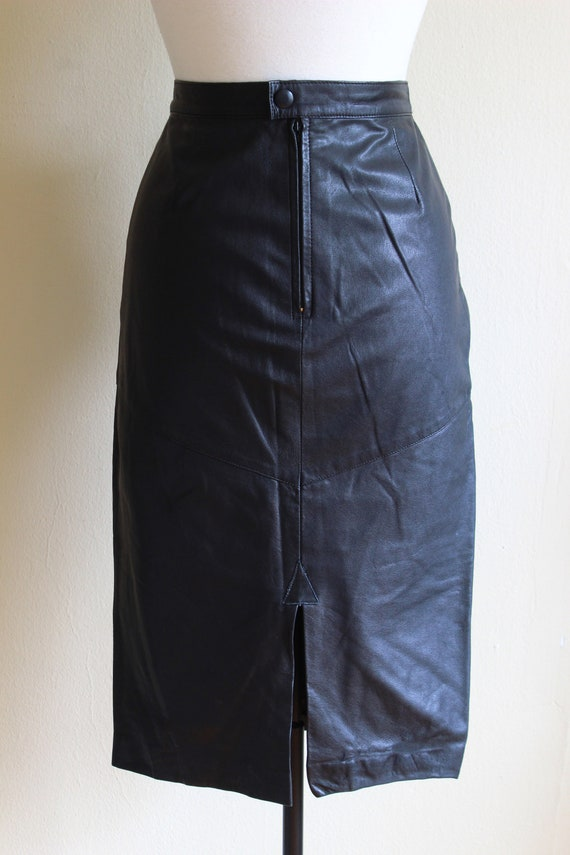 Vintage Black Leather High Waist Wiggle Skirt - image 8