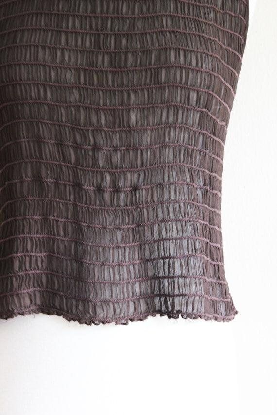 Vintage 1990s Shirred Brown Silk Chiffon Sheer Ta… - image 3