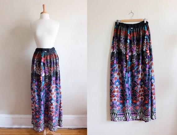 1960s Skirt / Vintage Pink, Purple & Black Floral