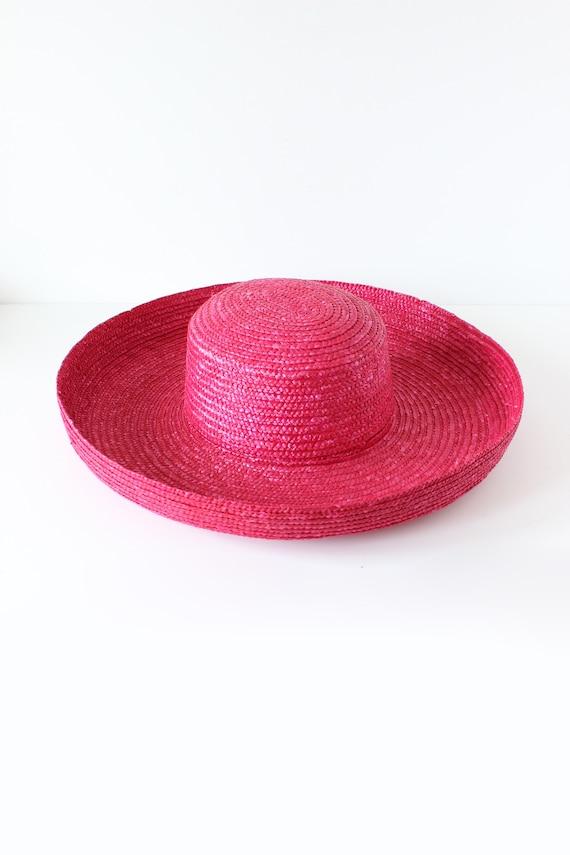 Vintage Hot Pink Wide Brim Straw Hat - image 9