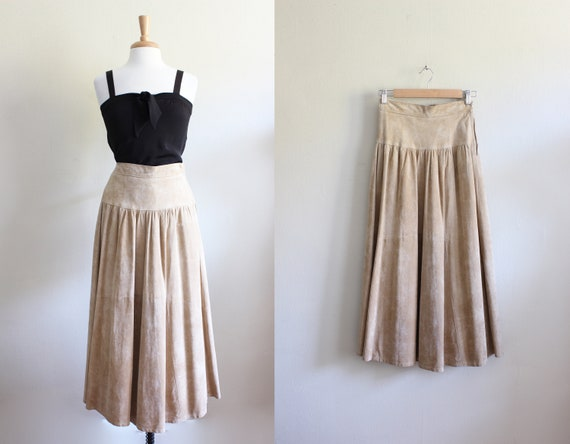 Vintage 1980s Eddie Bauer Tan Suede Midi Skirt
