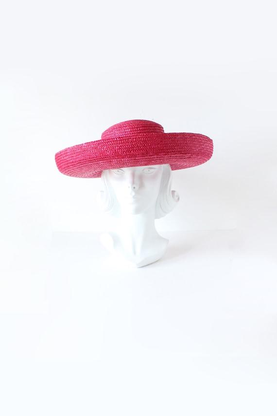 Vintage Hot Pink Wide Brim Straw Hat
