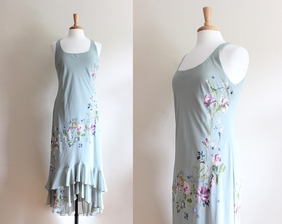 Vintage 1990s does 1930s Pale Green Beaded Floral… - image 1