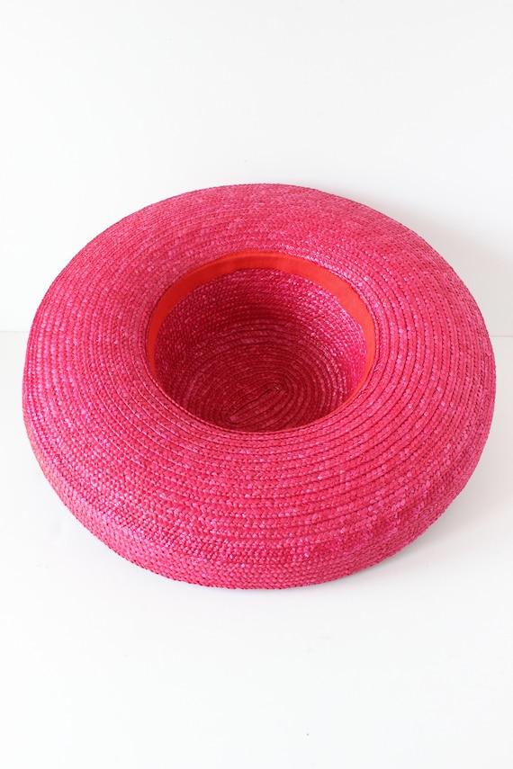 Vintage Hot Pink Wide Brim Straw Hat - image 10