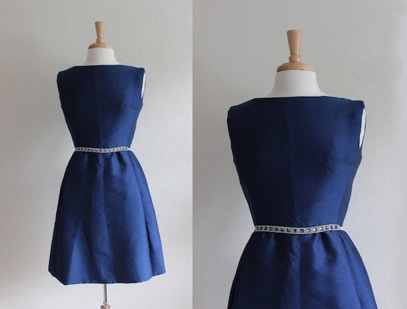 Vintage 1960s Rhinestone Belt Navy Blue Suzy Peret