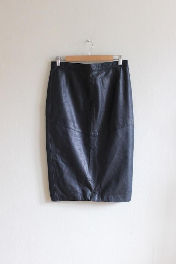 Vintage Black Leather High Waist Wiggle Skirt - image 4