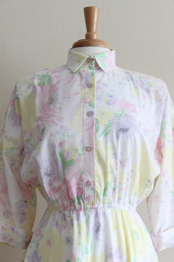 Vintage 1970s Pastel Floral Shirtwaist Dress - image 5