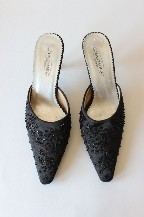 Vintage 1990s Black Beaded Satin High Heel Mules,… - image 3