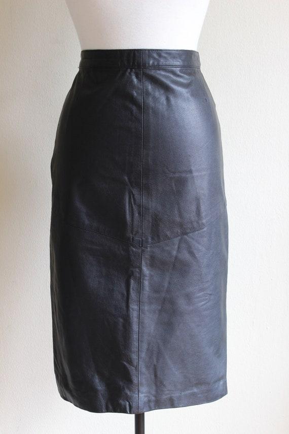 Vintage Black Leather High Waist Wiggle Skirt - image 3