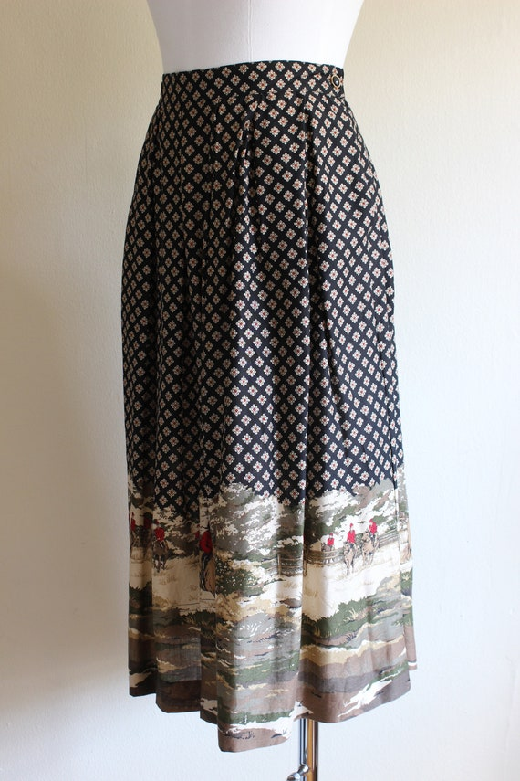 Vintage Equestrian Novelty Print Black Midi Skirt - image 8