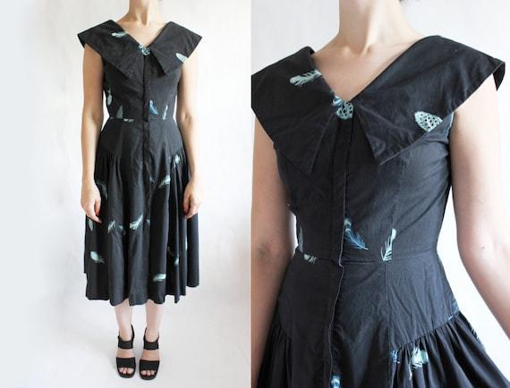 Vintage Blue Feather Print 1950s Dress