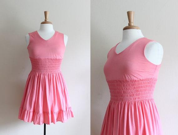 Vintage 1960s Bubblegum Pink Micro Mini Dress