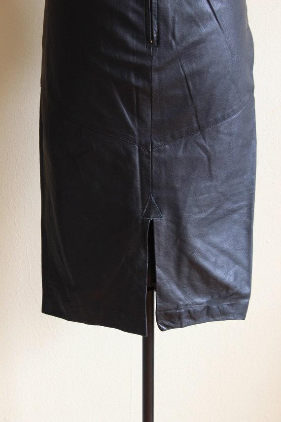 Vintage Black Leather High Waist Wiggle Skirt - image 10