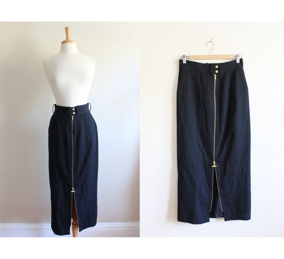 Vintage Black Wool Zipper Front Midi Skirt