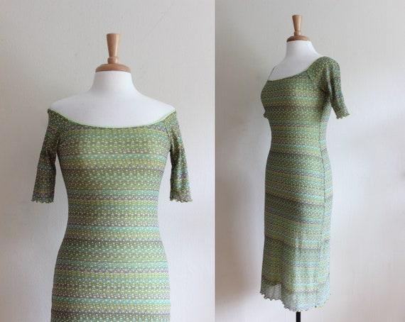 Vintage 1990s Green Print Stretch Mesh Dress
