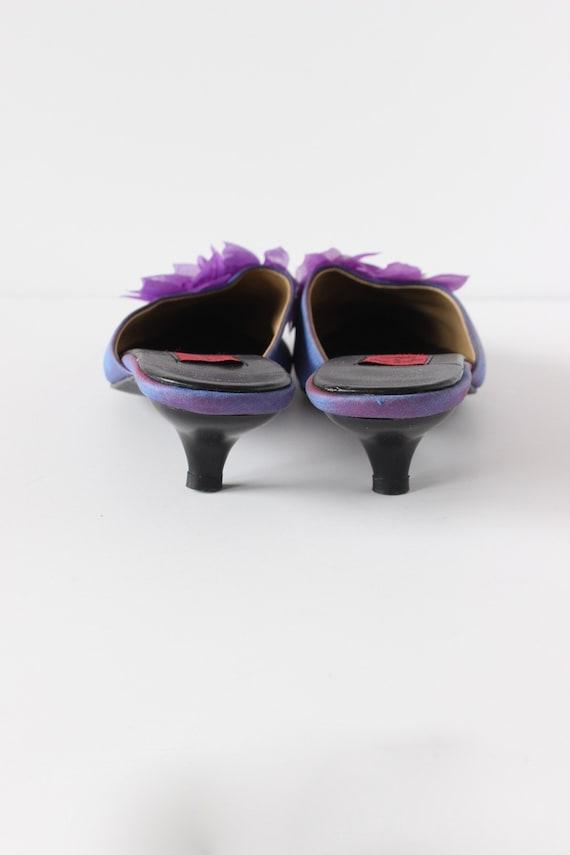 Vintage 1990s Iridescent Purple Flower Mules, siz… - image 7