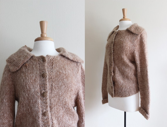 Vintage 1950s Hand Knit Caramel Mohair Cardigan Sw