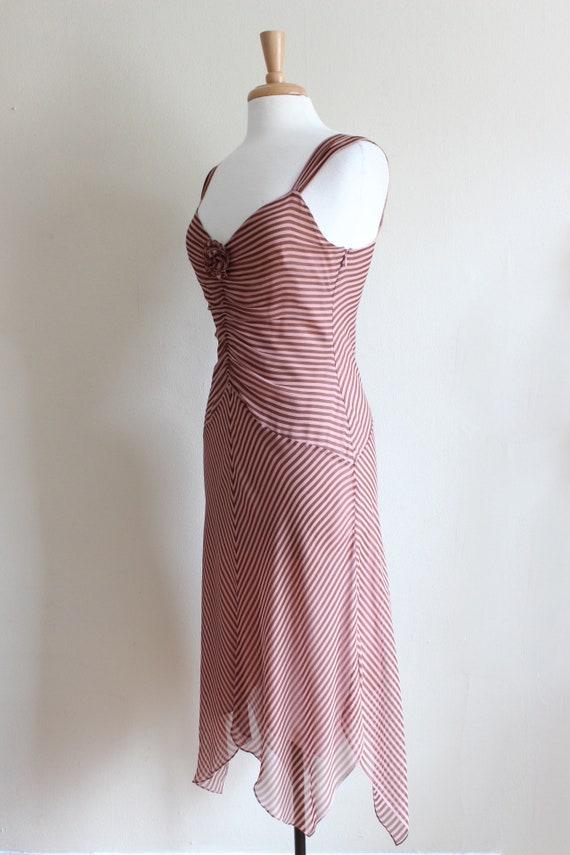 Vintage 1990s Pink & Brown Stripe Silk Chiffon Dr… - image 6