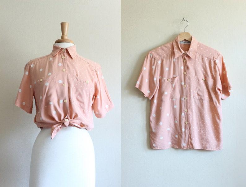 Vintage Peachy Pink Polka Dot Button Down Top