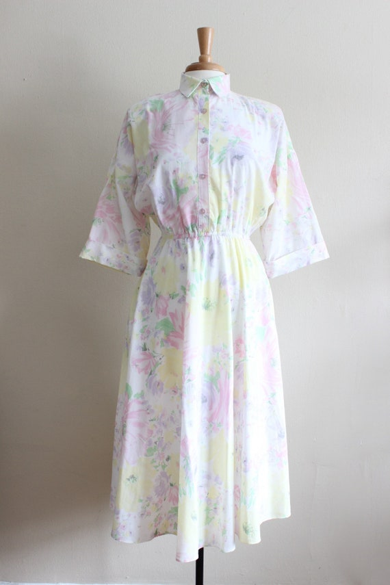 Vintage 1970s Pastel Floral Shirtwaist Dress - image 2