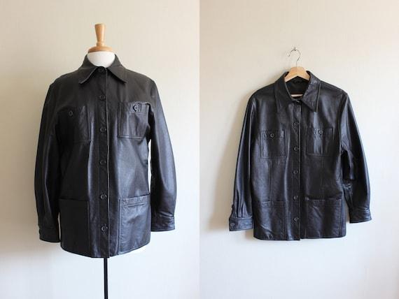 Vintage Brown-Black Leather Utility Jacket