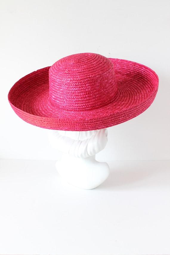 Vintage Hot Pink Wide Brim Straw Hat - image 4