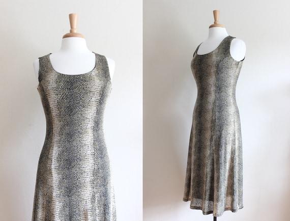 Vintage 1990s Snakeskin Print Stretch Mesh Dress