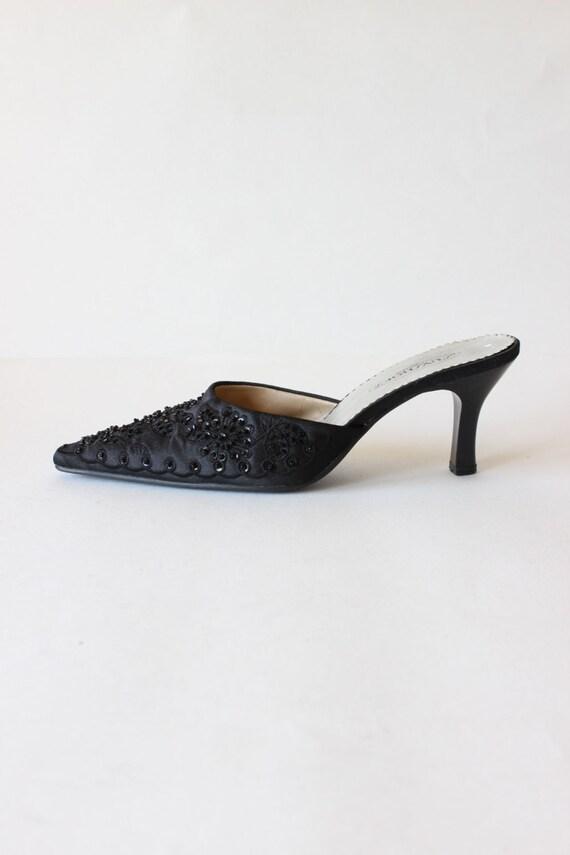 Vintage 1990s Black Beaded Satin High Heel Mules,… - image 1