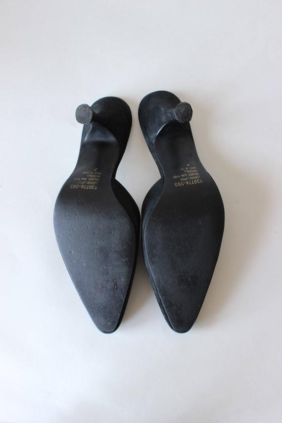 Vintage 1990s Black Suede Stiletto Mules, size 7 - image 5