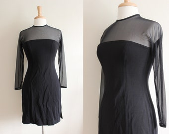 Vintage 1990s Tadashi Black Sheer Mesh Body Con Dress