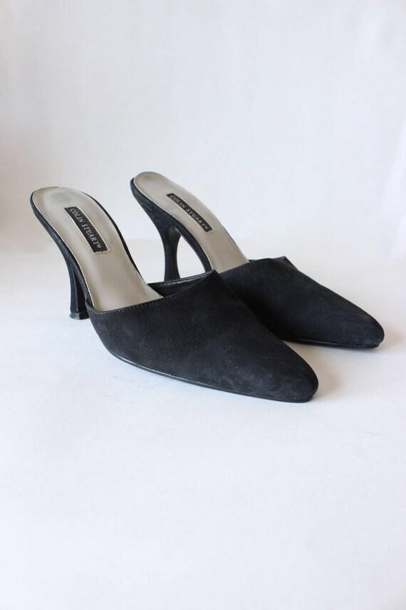 Vintage 1990s Black Suede Stiletto Mules, size 7 - image 3