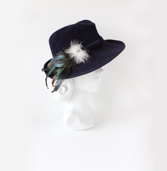 Vintage 1970s Betmar Navy Blue Fedora with Feather