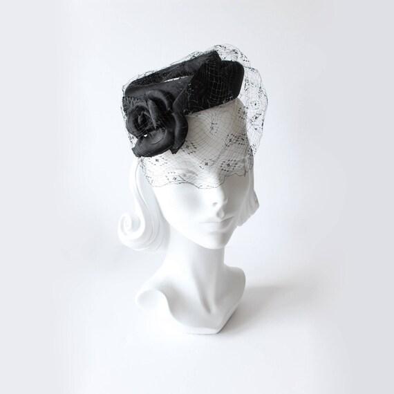 1950s Hat / Vintage Black Rosette Veiled Cocktail