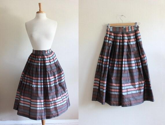 1950s Skirt / Vintage Pink & Blue Stripe Taffeta F
